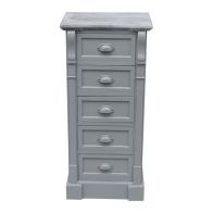 5 Drawer Shabby Chic Tallboy Chest - Grey