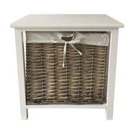 1 Wicker Basket Storage Table - Grey
