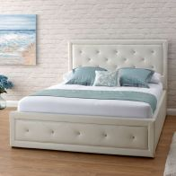 See more information about the Hollywood Double Ottoman Bed White Faux Leather