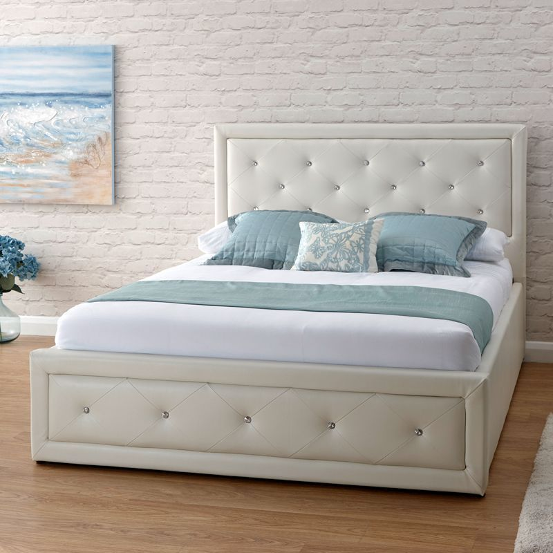 Buy Hollywood White End Lift Ottoman King Size 5ft Bed Frame ...