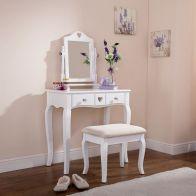Heart White Dressing Table & Stool Set