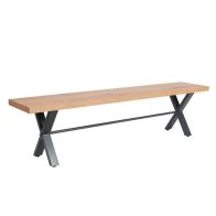 See more information about the Industrial Chic Oak & Steel 3 Seat Dining Bench