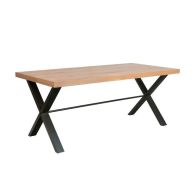 See more information about the Industrial Chic Oak & Steel Rectangular 6/8 Seat Dining Table