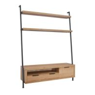 See more information about the Industrial Chic Oak & Steel 1 Door 1 Drawer 2 Shelf TV Unit & Bookcase