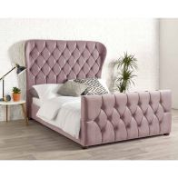 See more information about the Janssen Wing Back Velvet Pink 4ft 6in Double Bed Frame