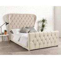See more information about the Janssen Wing Back Velvet Cream 4ft 6in Double Bed Frame