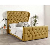 See more information about the Janssen Wing Back Velvet Gold 4ft 6in Double Bed Frame