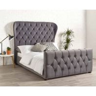 See more information about the Janssen Wing Back Velvet Grey 4ft 6in Double Bed Frame
