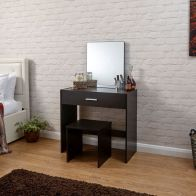 See more information about the Julia Dark Brown 1 Drawer Mirror Dressing Table & Stool Set