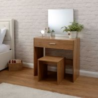 See more information about the Julia Oak Finish Dressing Table & Stool Set