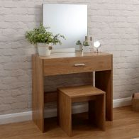 See more information about the Julia Oak Style Dressing Table 1 Drawer With Stool