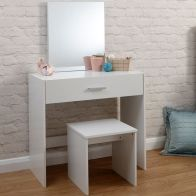 See more information about the Budget Dressing Table White 1 Drawer With Stool