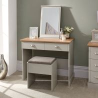 See more information about the Kendal Dressing Table Grey & Oak 2 Drawer With Stool