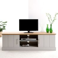 See more information about the Kendal TV Unit Grey & Oak 2 Door 2 Shelf Large