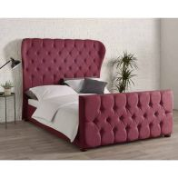 See more information about the Knightsbridge Wing Back Linen Red 4ft 6in Double Bed Frame