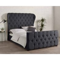 See more information about the Knightsbridge Wing Back Linen Black 4ft 6in Double Bed Frame