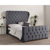 See more information about the Knightsbridge Wing Back Linen Grey 4ft 6in Double Bed Frame