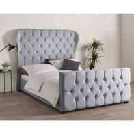 See more information about the Knightsbridge Wing Back Linen Silver 4ft 6in Double Bed Frame