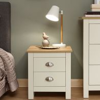 See more information about the Lancaster Bedside Cream & Oak 2 Drawers