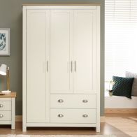 See more information about the Lancaster Wardrobe Cream & Oak 3 Door 2 Drawer