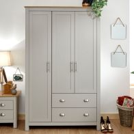 See more information about the Lancaster Wardrobe Grey & Oak 3 Door 2 Drawer