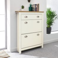 See more information about the Lancaster Shoe Storage Cream & Oak 2 Door 1 Drawer