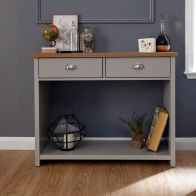 See more information about the Lancaster Console Table Grey & Oak 1 Shelf 2 Drawer
