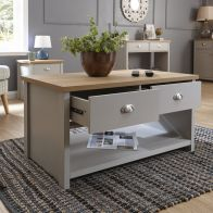 See more information about the Lancaster Coffee Table Grey & Oak 1 Shelf 2 Drawer