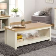 See more information about the Lancaster Large Coffee Table Cream & Oak 1 Shelf