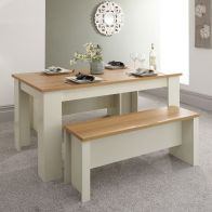 See more information about the Lancaster 4/6 Seater Dining Set Cream & Oak With 2 Benches