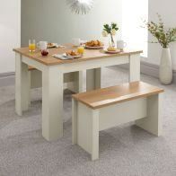 See more information about the Lancaster 4 Seater Dining Set Cream & Oak With 2 Benches