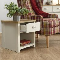 See more information about the Lancaster Lamp Table Cream & Oak 1 Shelf 1 Drawer