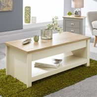 See more information about the Lancaster Coffee Table Cream & Oak 1 Shelf