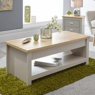 See more information about the Lancaster Lift Up Coffee Table Grey & Oak 1 Shelf