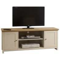 See more information about the Lancaster TV Unit Cream & Oak 2 Door 2 Shelf Large