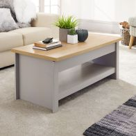 See more information about the Lancaster Sliding Top Coffee Table Grey & Oak 1 Shelf