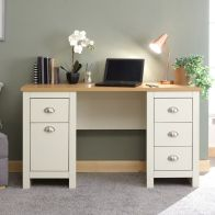 See more information about the Lancaster Desk Cream & Oak 1 Door 4 Drawer
