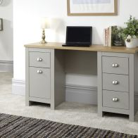 See more information about the Lancaster Desk Grey & Oak 1 Door 4 Drawer