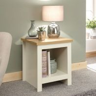 See more information about the Lancaster Side Table Cream & Oak 1 Shelf