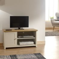 See more information about the Lancaster TV Unit Cream & Oak 1 Door 2 Shelf Small