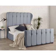 See more information about the Lauren Wing Back Pine Blue 4ft 6in Double Bed Frame