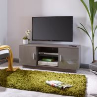 See more information about the Lima Grey High Gloss 2 Door 2 Shelf TV Unit