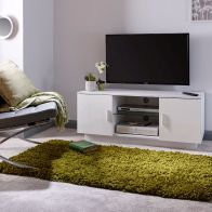 See more information about the Lima White High Gloss 2 Door 2 Shelf TV Unit