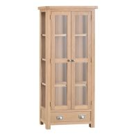 See more information about the Monica Oak 2 Door 1 Drawer Display Cabinet
