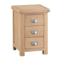 See more information about the Monica Oak 3 Drawer Large Bedside Table