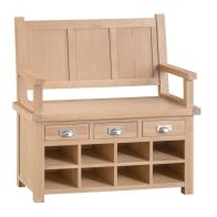 See more information about the Monica Oak 3 Drawer Monks Bench