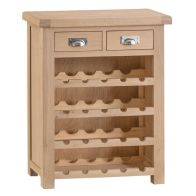 See more information about the Monica Oak 2 Drawer Small Wine Cabinet