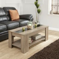 See more information about the Harper Lift Up Coffee Table Black & Walnut Style 1 Shelf Walnut Style