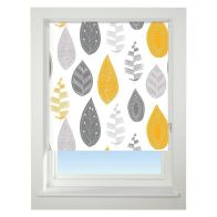 Universal 60cm Yellow & Grey Leaf Blackout Roller Blind