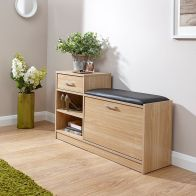 See more information about the Malmo Oak Finish Shoe Bench With Drawer